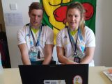 Youth Olympic Swimmers Kyle Chalmers and Ella Bond take a skype interview with ABC3.