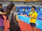 Youth Olympic Table Tennis player Dominic Huang shoots a promo for Nanjing TV in Mandarin.