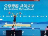 Kiana Elliott competes in the women's 63kg Weightlifting event at the 2014 Youth Olympic Games in Nanjing, China on Thursday 21 August, 2014.