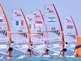The start of the Techno 293-Girls' Windsurfer Race 2 at the Singapore 2010 Youth Olympic Games.