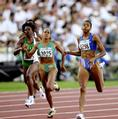 The finish of the women's 400m final with Marie Jose Perec from France winning the gold medal and Cathy Freeman from Australia winning the silver medal.