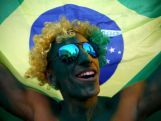 A passionate fan shows his support for Brazil