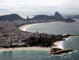 A general view of Copacabana Beach and Sugarloaf Mountain on July 7, 2014 in Rio de Janeiro, Brazil.