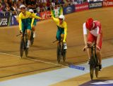 Alex Edmondson and Luke Davison of Australia celebrate winning gold in the Men's 4000 metres Team Pursuit Final at Sir Chris Hoy Velodrome during day one of the Glasgow 2014 Commonwealth Games on July 24, 2014 in Glasgow, Scotland.