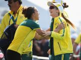 Lauryn Mark of Australia congratulates Laura Coles on her gold medal success in the women's skeet final at Barry Buddon Shooting Centre during day two of the Glasgow 2014 Commonwealth Games on July 25, 2014 in Carnoustie, United Kingdom.