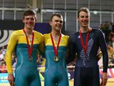 (L-R) Silver medalist Alex Edmonson of Australia, Gold medalist Jack Bobridge of Australia and bronze medalist Marc Ryan of New Zealand on the podium during the medal ceremony for the Men's 4000m Individual Pursuit Finals at Sir Chris Hoy Velodrome during day two of the Glasgow 2014 Commonwealth Games on July 25, 2014 in Glasgow, United Kingdom.