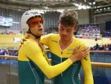 Silver medalist Alex Edmonson of Australia (R) and gold medalist Jack Bobridge of Australia embrace after the Men'?s 4000m Individual Pursuit Finals at Sir Chris Hoy Velodrome during day two of the Glasgow 2014 Commonwealth Games on July 25, 2014 in Glasgow, United Kingdom.