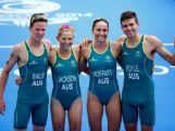 Ryan Bailie, Emma Jackson, Emma Moffatt and Aaron Royle of Australia pose after the mixed team relay Triathlon at Strathclyde Country Park during day three of the Glasgow 2014 Commonwealth Games on July 26, 2014 in Glasgow, United Kingdom.
