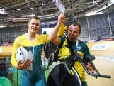 Scott Sunderland of Australia (L) celebrates winning gold after the Men's 1000 metres Time Trial at Sir Chris Hoy Velodrome during day three of the Glasgow 2014 Commonwealth Games on July 26, 2014 in Glasgow, United Kingdom.