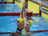 Taylor McKeown (R) of Australia celebrates winning the gold medal with silver medallist Sally Hunter of Australia after the Women's 200m Breaststroke Final at Tollcross International Swimming Centre during day three of the Glasgow 2014 Commonwealth Games on July 26, 2014 in Glasgow, Scotland.