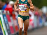 Jess Trengove of Australia reacts after finishing third in the Women's Marathon on the city marathon course during day four of the Glasgow 2014 Commonwealth Games on July 27, 2014 in Glasgow, Scotland.