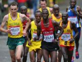 Michael Shelley of Australia and John Ekiru Kelai of Kenya compete the Men's Marathon on the city marathon course  during day four of the Glasgow 2014 Commonwealth Games on July 27, 2014 in Glasgow, United Kingdom.