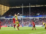 A general view of a line out in the quarter final match between Australia and Wales during the Rugby Sevens at Ibrox Stadium during day four of the Glasgow 2014 Commonwealth Games on July 27, 2014 in Glasgow, United Kingdom.