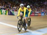 Stephanie Morton (L) of Australia celebrates as she crosses the line to beat Anna Mears (R) of Australia in the Women's Sprint Final at Sir Chris Hoy Velodrome during day four of the Glasgow 2014 Commonwealth Games on July 27, 2014 in Glasgow, United Kingdom.
