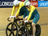Stephanie Morton (L) of Australia is congratulated by Anna Mears (R) of Australia after winning the Women's Sprint Final at Sir Chris Hoy Velodrome during day four of the Glasgow 2014 Commonwealth Games on July 27, 2014 in Glasgow, United Kingdom.