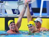 Belinda Hocking (R) of Australia celebrates winning the gold medal with silver medallist Emily Seebohm of Australia in the Women's 200m Backstroke Final at Tollcross International Swimming Centre during day four of the Glasgow 2014 Commonwealth Games on July 27, 2014 in Glasgow, Scotland.
