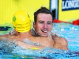 James Magnussen of Australia celebrates winning the gold medal in the Men's 100m Freestyle Final with silver medallist Cameron McEvoy of Australia at Tollcross International Swimming Centre during day four of the Glasgow 2014 Commonwealth Games on July 27, 2014 in Glasgow, Scotland.
