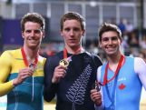 Glenn P O'Shea of Australia, Shane Archbold of New Zealand, and Remi Pelletier of Canada celebrate with their medals after the Men's 25km Scratch race at Sir Chris Hoy Velodrome during day four of the Glasgow 2014 Commonwealth Games on July 27, 2014 in Glasgow, United Kingdom.