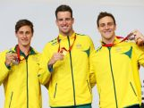 Gold medallist James Magnussen of Australia poses with silver medallist Cameron McEvoy (L) of Australia and bronze medallist Tommaso D'Orsogna (R) of Australia during the medal ceremony for the Men's 100m Freestyle Final at Tollcross International Swimming Centre during day four of the Glasgow 2014 Commonwealth Games on July 27, 2014 in Glasgow, Scotland.