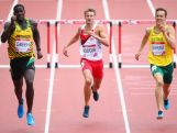 (L-R) Leford Green of Jamaica, Seb Rodger of England and  Ian Dewhurst of Australia compete in Men's 400 metres hurdles heats at Hampden Park during day seven of the Glasgow 2014 Commonwealth Games on July 30, 2014 in Glasgow, United Kingdom.