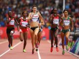 (L-R)  Winnie Nanyando of Uganda, Jessica Smith of Canada, Janeth Jepkosgei Busienei of Kenya and Katherine Katsanevakis of Australia compete in the Women's 800 metres heats at Hampden Park during day seven of the Glasgow 2014 Commonwealth Games on July 30, 2014 in Glasgow, United Kingdom.