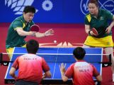 Xin Yan and Ziyu Zhang of Australia compete against Dunley Foo and Sock Khim NG of Malaysia during the mixed doubles table tennis  at Scotstoun Sports Campus during day seven of the Glasgow 2014 Commonwealth Games on July 30, 2014 in Glasgow, United Kingdom.