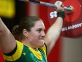 Deborah Acason of Australia lifts in the Women's +75kg Group A at Clyde Auditorium during day seven of the Glasgow 2014 Commonwealth Games on July 30, 2014 in Glasgow, United Kingdom.