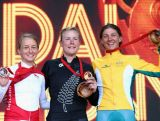 GLASGOW, SCOTLAND - JULY 31: (L-R) Emma Pooley of England,  Linda Villumsen of New Zealand and   Katrin Garfoot of Australia celebrate on the podium after the Women's Cycling Road Time Trial at during day eight of the Glasgow 2014 Commonwealth Games on July 31, 2014 in Glasgow, United Kingdom.