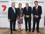 (L-R) AOC President John Coates, AOC Chef De Mission Kitty Chiller, Chairman of Seven West Media Kerry Stokes and Seven West Media CEO Tim Worner pose during the Two Years To Go countdown ahead of the 2016 Rio Olympic Games at Museum of Contemporary Art on August 5, 2014 in Sydney, Australia.
