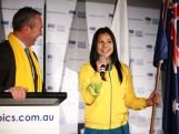 Rugby Sevens player Tiana Penitani speaks after being announced as 2014 Australian Youth Olympic Team flag bearer during the Australian Olympic Committee team farewell and flag bearer announcement ahead of the 2014 Youth Olympic Games at The Menzies Hotel on August 12, 2014 in Sydney, Australia.