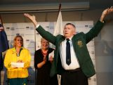 Laurie Lawrence is announced during the Australian Olympic Committee team farewell and flag bearer announcement ahead of the 2014 Youth Olympic Games at The Menzies Hotel on August 12, 2014 in Sydney, Australia.
