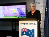 AOC Vice President Helen Brownlee OAM speaks during the Australian Olympic Committee team farewell and flag bearer announcement ahead of the 2014 Youth Olympic Games at The Menzies Hotel on August 12, 2014 in Sydney, Australia.