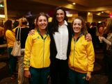 Olympic hurdler Michelle Jenneke (C) poses with athletes during the Australian Olympic Committee team farewell and flag bearer announcement ahead of the 2014 Youth Olympic Games at The Menzies Hotel on August 12, 2014 in Sydney, Australia.