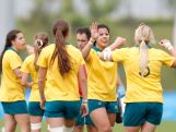 Team of Australia celebrates after kicking a goal in the Rugby Sevens on day one of Nanjing 2014 Summer Youth Olympic Games at Nanjing sports park rugby field on August 17, 2014 in Nanjing, China.