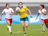 Marioulla Belessis of Australia competes against Tunisia in the Rugby Sevens on day one of Nanjing 2014 Summer Youth Olympic Games at Nanjing sports park rugby field on August 17, 2014 in Nanjing, China.