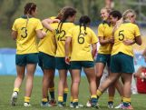 Australia women's rugby team celebrates after defeating Canada to win the gold medal at the  Rugby Sevens Final on day four of the Nanjing 2014 Summer Youth Olympic Games at the Olympic Sports Park on August 20, 2014 in Nanjing, China.