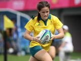 NANJING, CHINA - AUGUST 20: Dom du Toit of Australia runs with the ball and scores a try at the Rugby Sevens Final on day four of the Nanjing 2014 Summer Youth Olympic Games at the Olympic Sports Park on August 20, 2014 in Nanjing, China. (Photo by Suhaimi Abdullah/Getty Images)