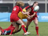 Tiana Penitani of Australia throws a pass during the Rugby Sevens Final on day four of the Nanjing 2014 Summer Youth Olympic Games at the Olympic Sports Park on August 20, 2014 in Nanjing, China.