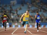 Trae Williams of Australia competes in the Men's 100 metres heats on day five of the Nanjing 2014 Summer Youth Olympic Games at Nanjing OSC Stadium on August 21, 2014 in Nanjing, China.  (Photo by ChinaFotoPress/ChinaFotoPress via Getty Images)