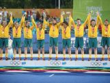 Australia team celebrate winning in Hockey5s Men's Gold Medal Match on day eleven of the Nanjing 2014 Summer Youth Olympic Games at Nanjing YOG Sports Park Hockey Field on August 27, 2014 in Nanjing, China.