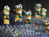 NANJING, CHINA - AUGUST 28: Mascot balloons float during the closing ceremony for the Nanjing 2014 Summer Youth Olympic Games at the Nanjing Olympic Sports Centre on August 28, 2014 in Nanjing, China. (Photo by Feng Li/Getty Images)