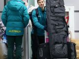 Australian Freestyle skier Matt Graham arrives at Sochi International Airport prior to the Sochi 2014 Winter Olympics on January 31, 2014 in Sochi, Russia.