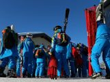 Workers queue up for the gondola at Rosa Khutor Mountain ahead of the Sochi 2014 Winter Olympics on February 1, 2014 in Sochi, Russia.