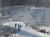 Olympic workers build part of the Freestyle Park at Rosa Khutor Mountain ahead of the Sochi 2014 Winter Olympics on February 1, 2014 in Sochi, Russia.