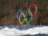 The Olympic rings are seen prior to the Sochi 2014 Winter Olympics at the Rosa Khutor Mountain village cluster on February 1, 2014 in Sochi, Russia.