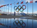 The Olympic Rings are pictured next flags of the competing nations inside the Olympic Park prior to the Sochi 2014 Winter Olympics on February 1, 2014 in Sochi, Russia.
