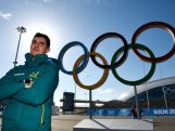 Speed skater Daniel Greig of Australia poses in front of the Olympic Rings ahead of the Sochi 2014 Winter Olympics at the Olympic Park on February 4, 2014 in Sochi, Russia.