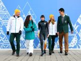 (L-R) Australian athletes Phil Bellingham, wearing the opening ceremony uniform, Hannah Trigger, wearing the competition wear, Deanna Lockett, wearing competition wear, Ester Bottomley, wearing competition wear and Pierre Boda, wearing the formal uniform pose during the Australian Olympic Team Uniform launch ahead of the Sochi 2014 Winter Olympics at the Main Press Center (MPC) at the Olympic Park on February 5, 2014