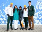 (L-R) Australian athletes Phil Bellingham, wearing the opening ceremony uniform, Hannah Trigger, wearing the competition wear, Deanna Lockett, wearing competition wear, Ester Bottomley, wearing competition wear and Pierre Boda, wearing the formal uniform pose during the Australian Olympic Team Uniform launch ahead of the Sochi 2014 Winter Olympics at the Main Press Center (MPC) at the Olympic Park on February 5, 2014.