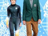 Australian short track speed skaters Deanna Lockett, wearing competition wear and Pierre Boda, wearing formal uniform pose during the Australian Olympic Team Uniform launch for the Sochi 2014 Winter Olympics.